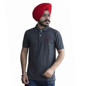 Collared Punjabi T-Shirt in Grey Color