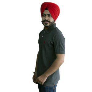 Collared Punjabi T-Shirt in Grey Color