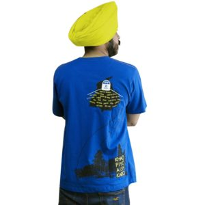 An Elegant Royal Blue Punjabi Slogan T-Shirt