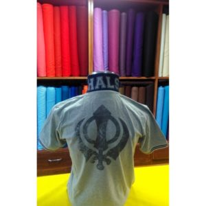 Punjabi Collar T-Shirt in Grey Color