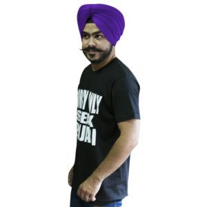 A black t-shirt with Punjabi Slogan in round neck