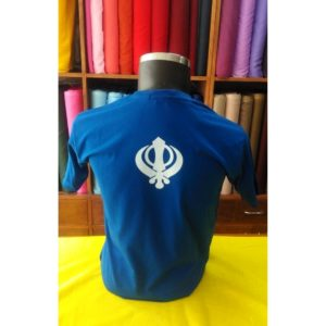 A royal blue printed t-shirt with Punjabi Slogan