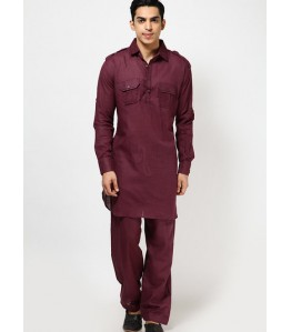 Men Pathani Suit in maroon color