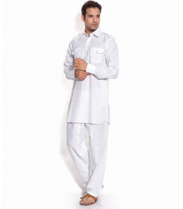 Men Pathani Suit in White Color