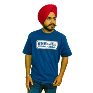 Blue T-Shirt for Men with Punjabi Slogan