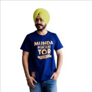 Round neck t-shirt with Punjabi Slogan in blue color