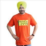 Orange T-Shirt with Punjabi Slogan in round neck